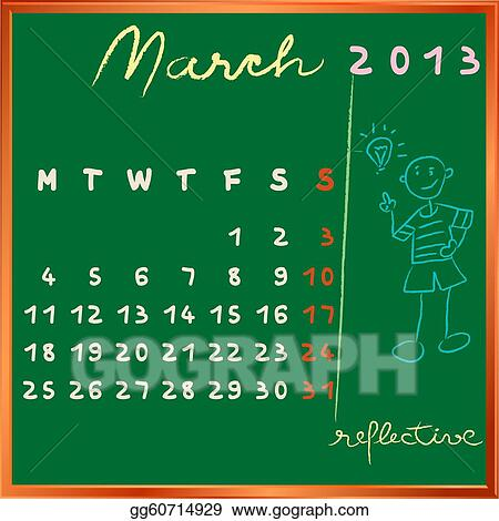 calendar on a chalkboard, march design with the reflective student ...