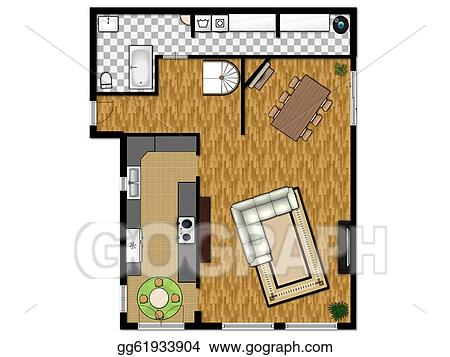 Stock Illustrations - 2D floor plan of the first level with kitchen