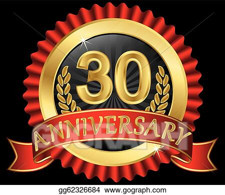 Drawings 30 years anniversary golden stock illustration gg62326684