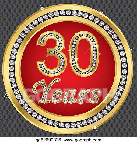 Stock illustration 30 years anniversary happy birthday golden icon