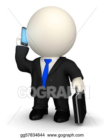 3D Business man on the phone