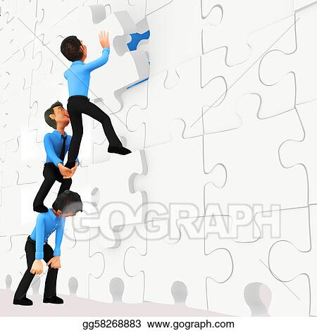 3D business men - puzzle assembling