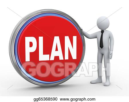 Stock illustration 3d businessman with plan button for Plan betton