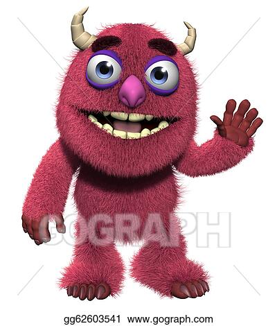 Stock Illustration - 3d cartoon cute furry monster. Clipart ...