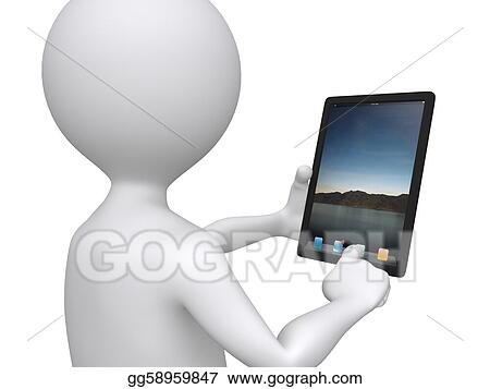 3d communication, little human character with his touch pad