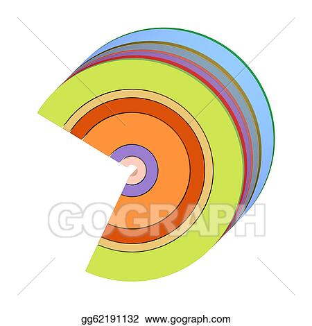 Stock Illustration - 3d curved rectangular c shapes in rainbow color ...