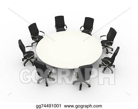 Stock Illustration - 3d empty chairs table conference meeting room ...