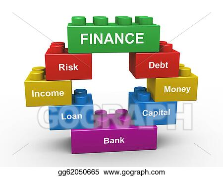 3d finance building blocks. Clip Art gg62050665 - GoGraph