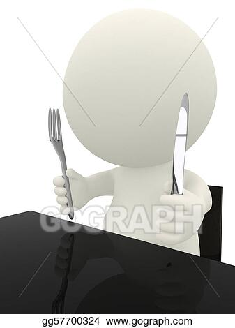 3D guy ready to eat