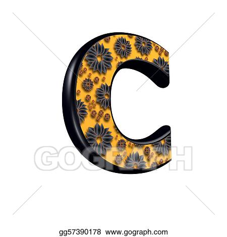 3d letter with floral design - c