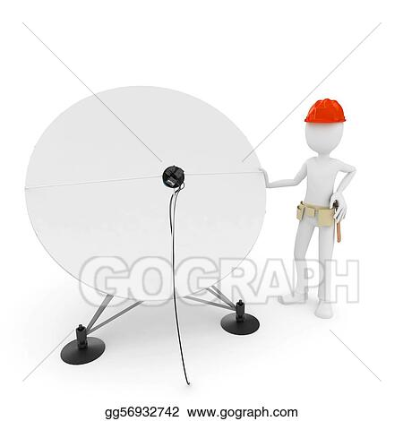 3d man cable guy with satellite dish