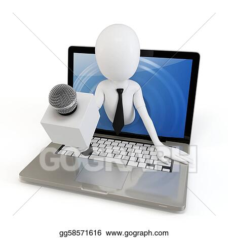 Drawing 3d Man Online Interview Concept Clipart Drawing