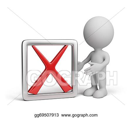 Stock Illustration - 3d man with a negative symbol. Clipart ...