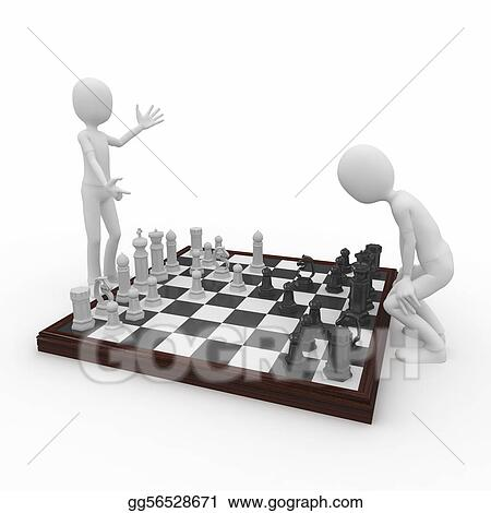 3d man with chess game