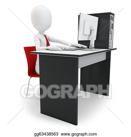 Stock illustration 3d man working at computer on white background