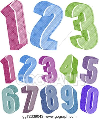 Vector Illustration - 3d numbers set made with round shapes with ...
