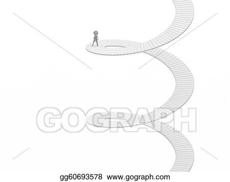 Drawings 3d people human character climb the spiral staircase