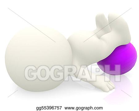 3D person with pilates ball
