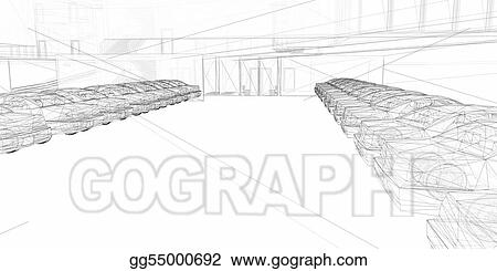 3D  redering wire-frame of parking lot
