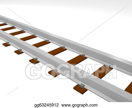 rails render template - stock illustration 3d render of train tracks clip art
