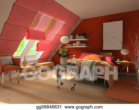Stock illustration 3d rendering bedroom clipart drawing for 3d bedroom drawing