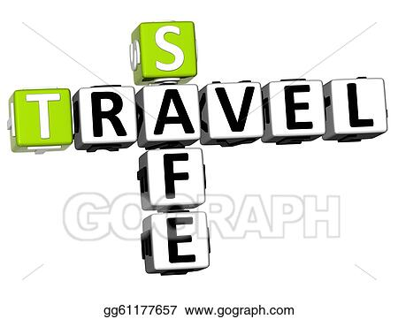 Drawing 3d Safe Travel Crossword Clipart