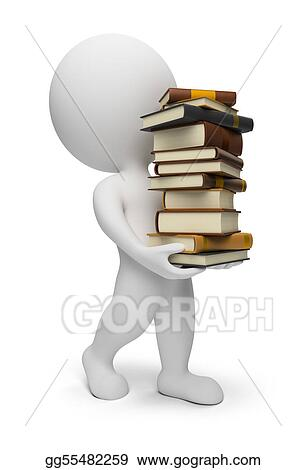 3d small people - carrying books