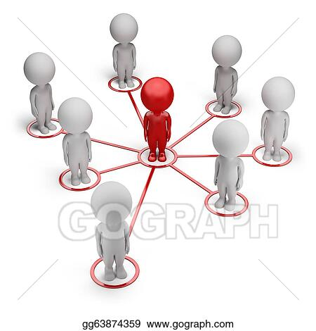Stock illustration 3d small people concept of partnership network