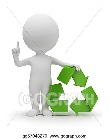 3d small people with a recycling symbol