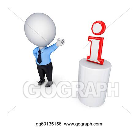 3d small person and Info symbol.