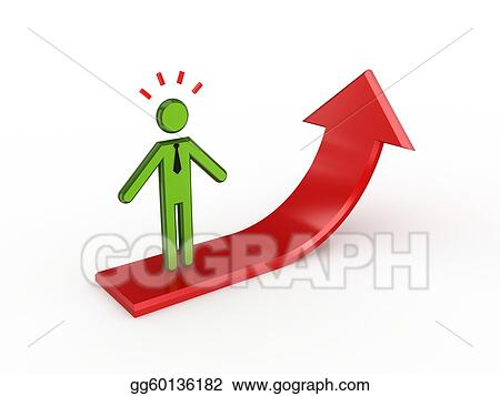 3d small person standing on a red arrow.
