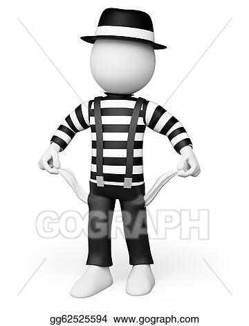 Drawing - 3d white people. mime showing his empty pockets. Clipart ...
