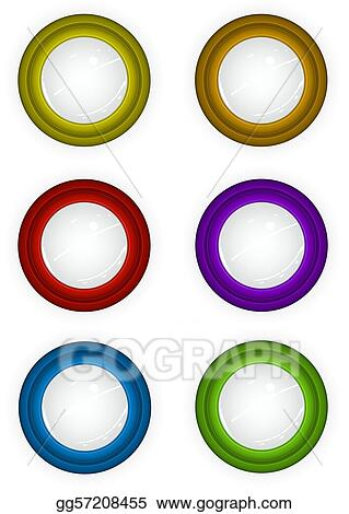 6 round 3d techno reflective colored button icons