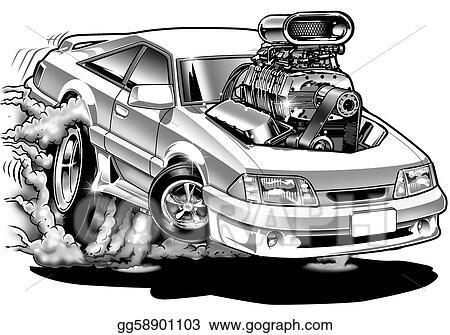Clipart 90 S Cartoon Muscle Car Stock Illustration