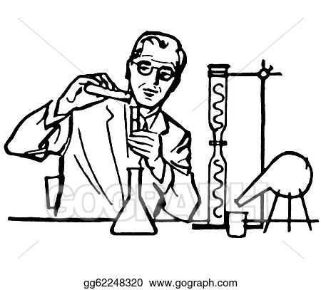A Black And White Version Of A Portrait Of A Scientist Gg62248320 likewise  on testing tube clip art flask