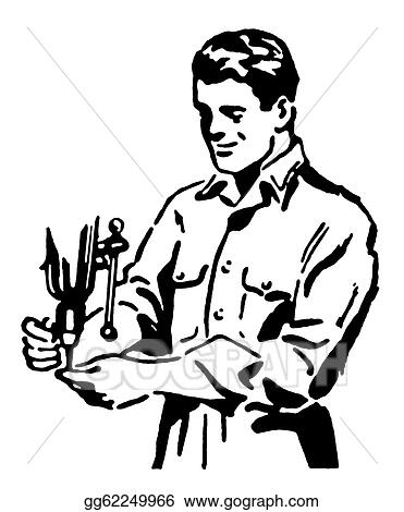 A Black And White Version Of A Vintage Style Drawing Of A Construction Worker Gg62249966