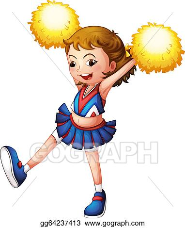 Clip Art - Illustration of a cheerleader with yellow pompoms on a ...