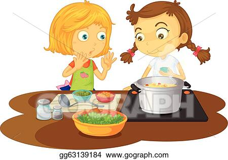 Cartoon Girl Chef Cooking Stock Illustrations 1,200