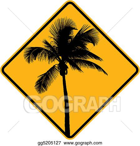 A palm tree sign in yellow and black
