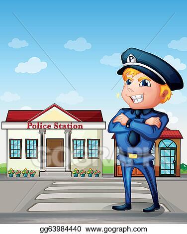 Police station clipart  Vector Art - A policeman across the police station. Clipart ...