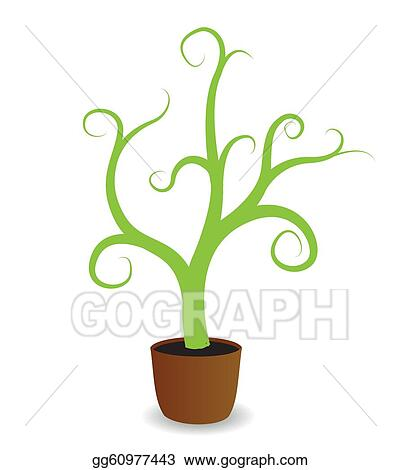 Vector Art - A potted plant beginning to grow. Clipart Drawing ...