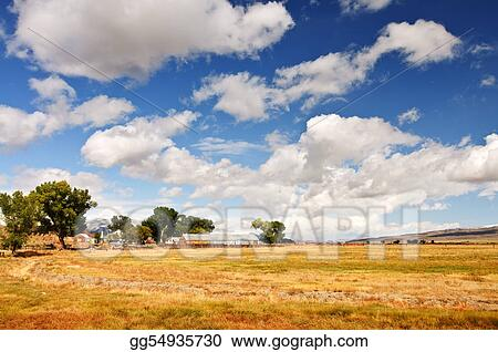 a scenic nature farmland landscape with clouds