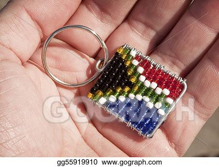 A South African flag keyring made using traditional beads and wire technique.