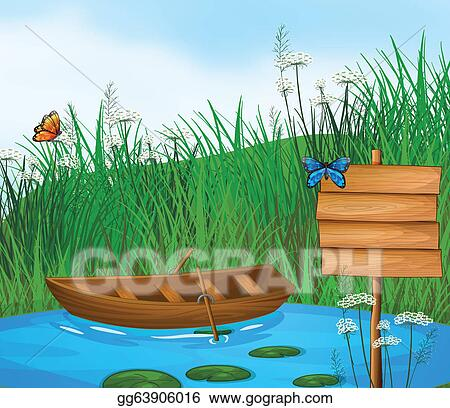 Vector Art - A wooden boat in the river. Clipart Drawing ...