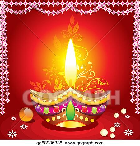 absrtract diwali background with deepak