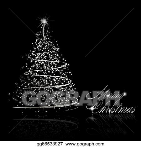 Clip Art Vector - Abstract silver christmas tree on black ...