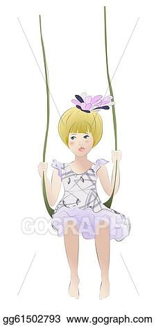 Adorable girl on the swing