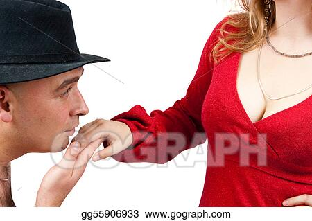 Adult men kissing women\'s hand