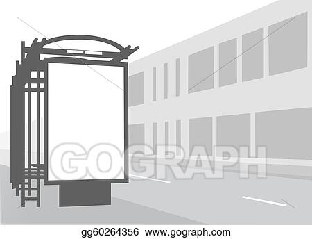 Advertising billboard at city bus stop. Black and white illustration.