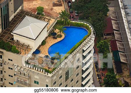 Aerial View of Luxury Hotel Rooftop Pool